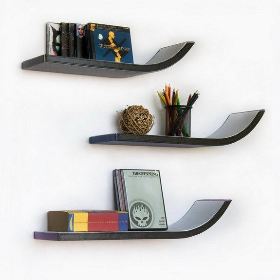 J-Shaped Leather Wall Shelves; Trista, Set of 3 - Seasonal Expressions - 2