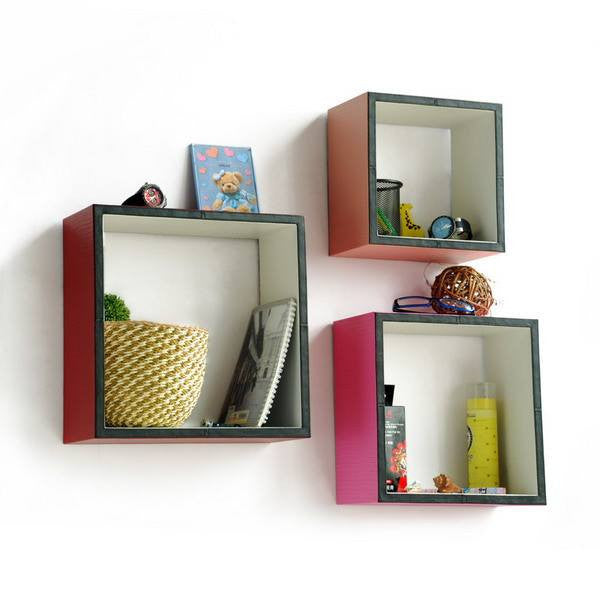 Square Leather Wall Shelver; Trista, Set of 3 - Expressions of Home