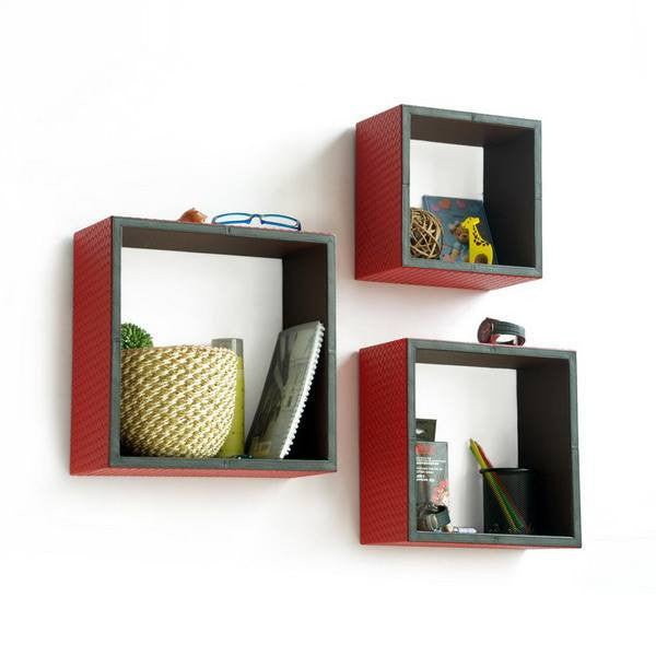Square Leather Wall Shelver; Trista, Set of 3 - Seasonal Expressions - 3