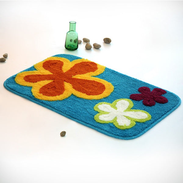 Kid's Rug-19.7x31.5-Dancing Flowers-Blue-Kids Decor