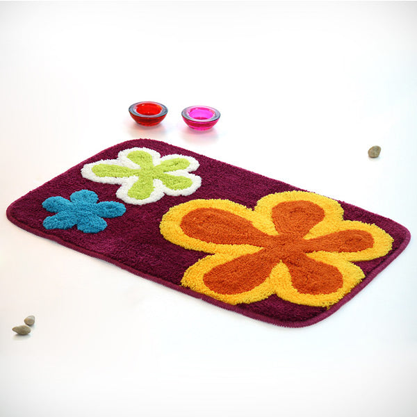 Kid's Rug-19.7x31.5-Dancing Flowers-Red-Kids Decor