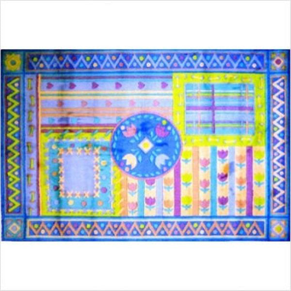 "Rug-Cozy Home-5'3"" x 7'6""-Tulip Quilt Blue"