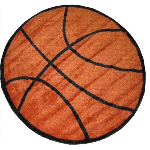 "Kid's Rug-39"" Round-Basketball-Babies and Children"