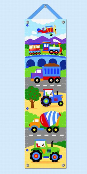 Growth Chart-Trains-Planes-Trucks-Babies and Children-Kids Decor