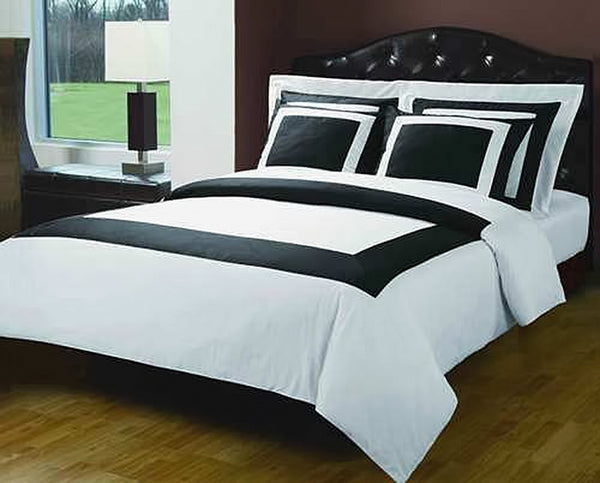 Bed Linen-Duvet Cover Set-Full-Queen-5 Piece-White-Black-Hotel