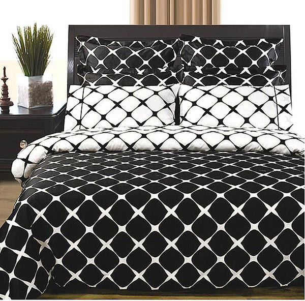 Bed Linen-Bed in a Bag-9 Piece-Full Set-Bloomingdale Black-White