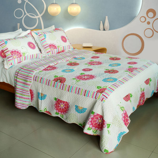 Quilt Set-Bed Linen-3 Piece Full-Queen-Pink Fairy Tale