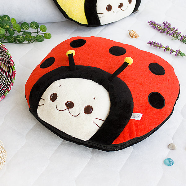 Fleece Throw-Blanket-Pillow-Ladybug