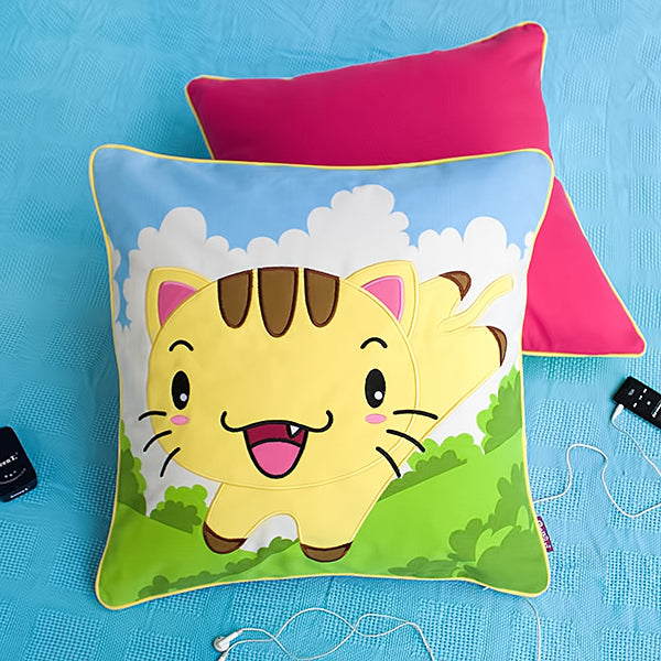 Floor Cushion-Pillow-Children-Kitty Meow-Kids Decor