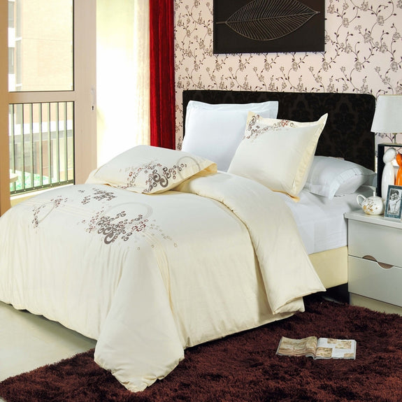Bed Linen-Duvet Cover Set-3 Piece-Embroidered-Egyptian Cotton-Sophia