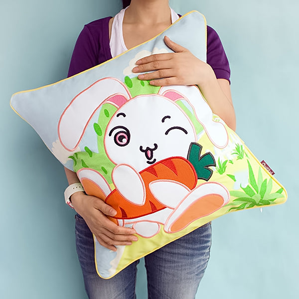 Floor Cushion-Pillow-Children-Bunny and Carrot-Kids Decor