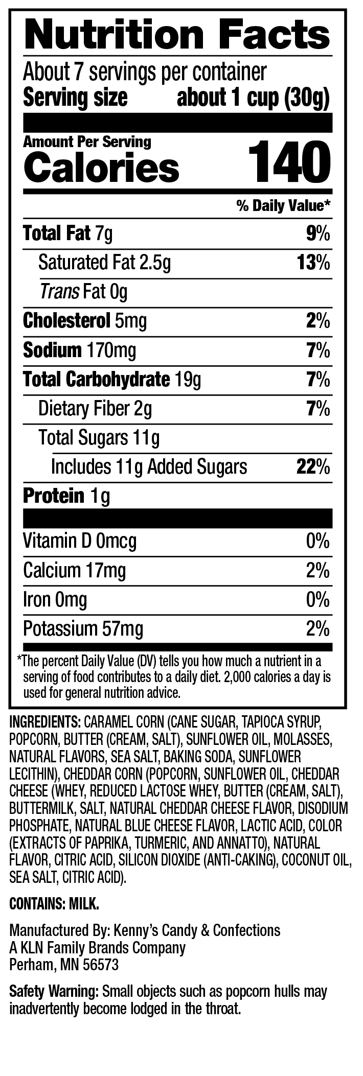 Nutrition Facts - Sweet Chaos Chaos Mix Popcorn
