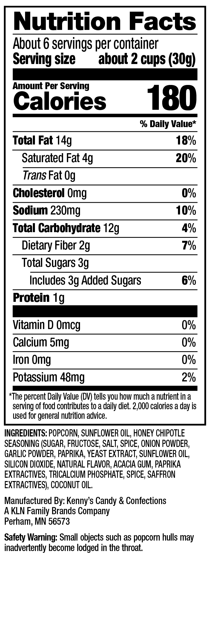 Nutrition Facts - Sweet Chaos Honey Chipotle Popcorn