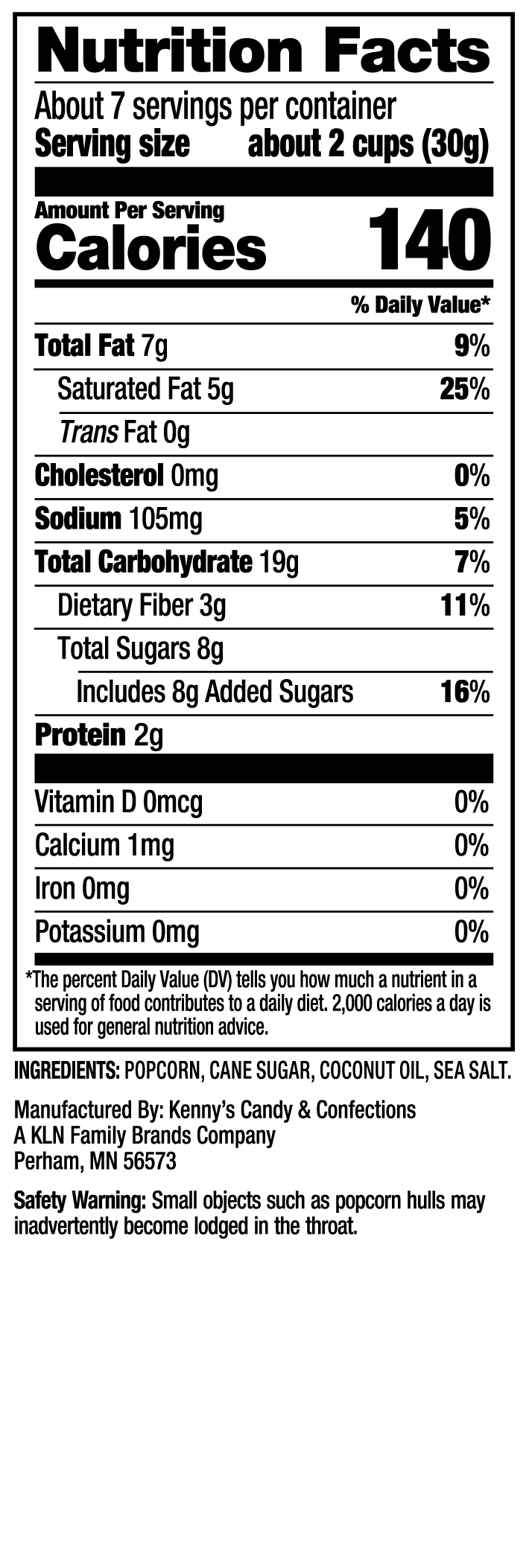 Nutrition Facts - Sweet Chaos Kettle Corn