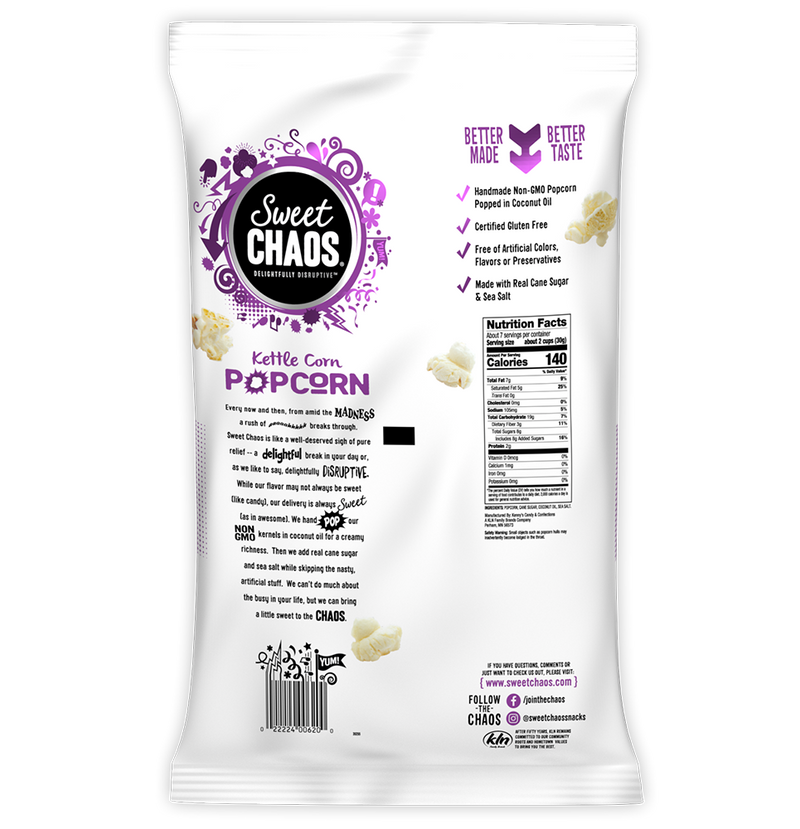 Sweet Chaos Kettle Corn - back of bag