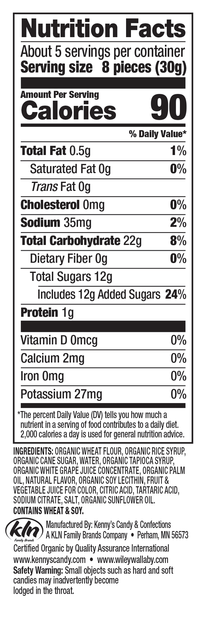 Nutrition Facts - Wiley Wallaby Organic Mixed Berry Bites