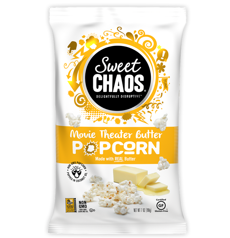 Sweet Chaos Movie Theater Butter Popcorn - front of bag