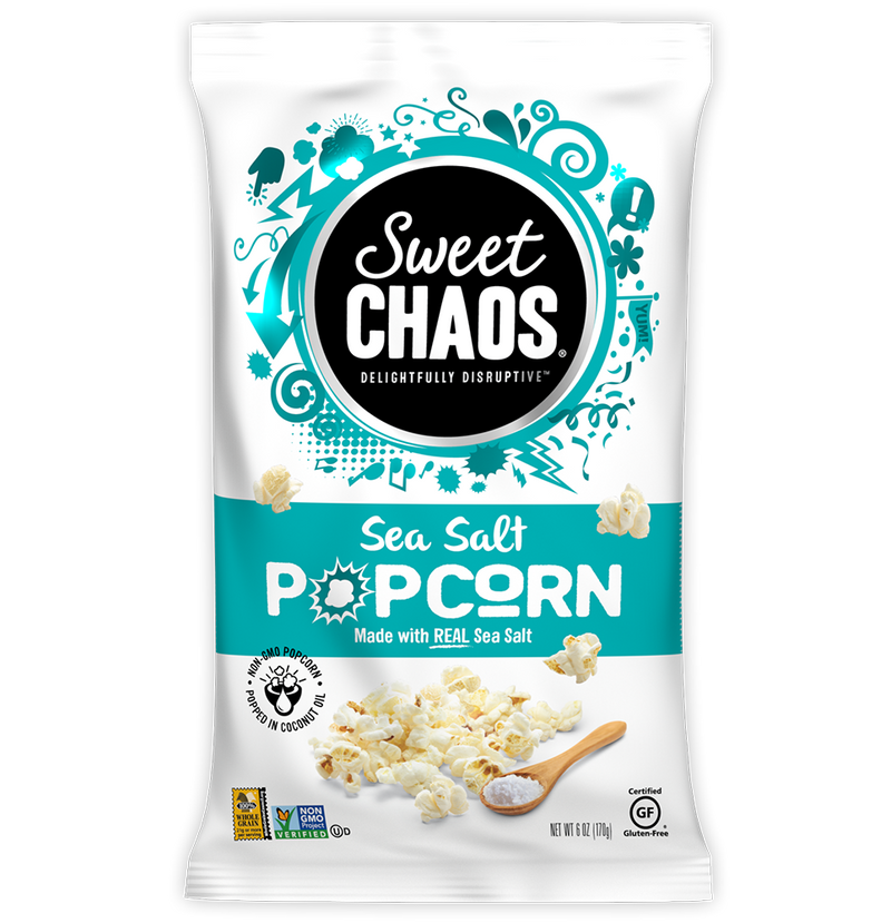 Sweet Chaos Sea Salt Popcorn - front of bag