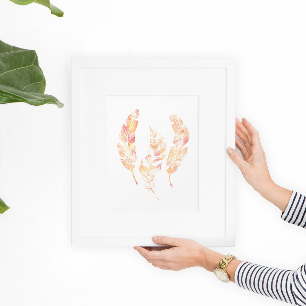 Watercolor Feathers in Peach Art Print - Hewitt Avenue