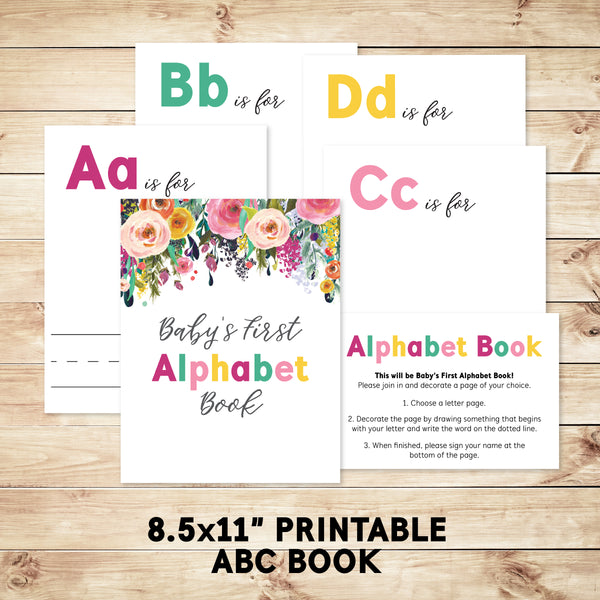 DIY Alphabet Book Baby Shower Activity Game, 8.5x11 - Hewitt Avenue