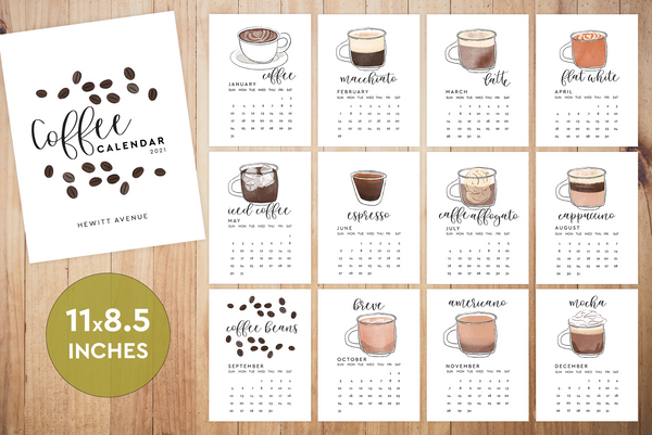 2021 Coffee Printable Calendar