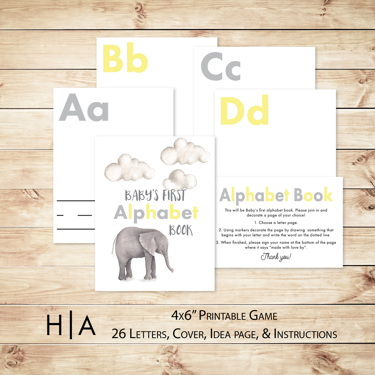 DIY Alphabet Book Baby Shower Activity Game, 4x6 - Hewitt Avenue