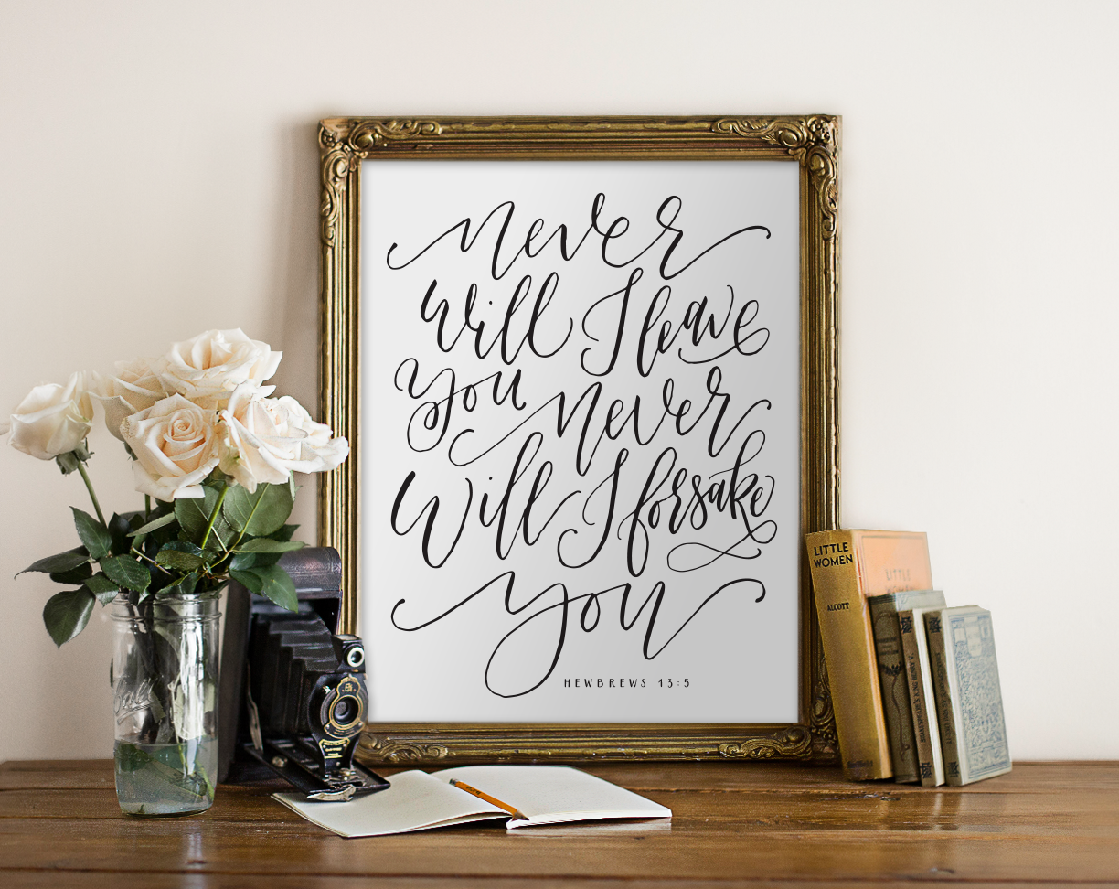 Hebrews 13 Bible Verse Chalkboard Art Print - Hewitt Avenue