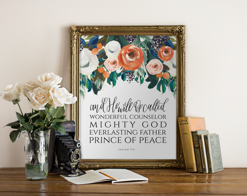Isaiah 9:6 Printable Christian Art in Floral