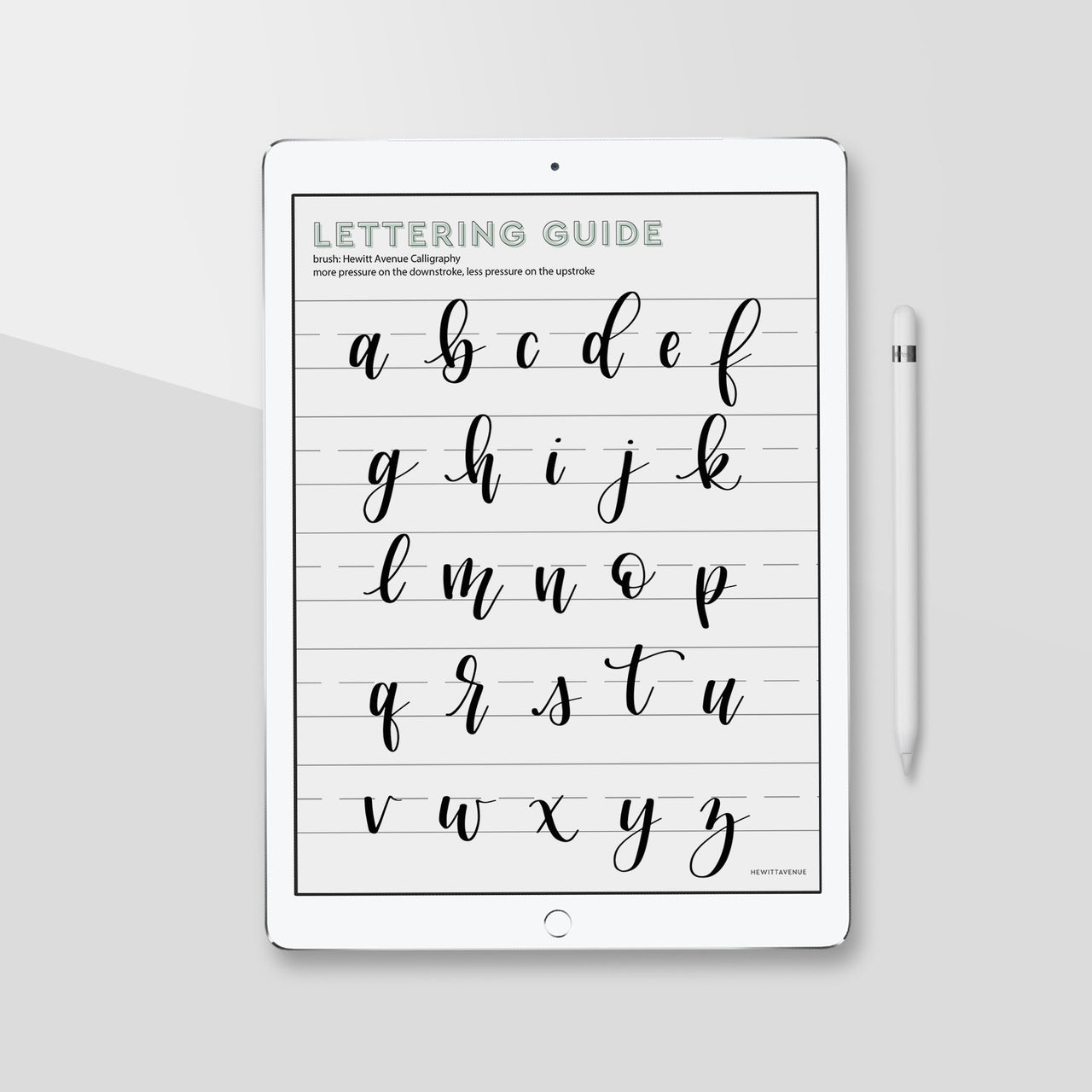 Lowercase Brush Lettering Guide, iPad Lettering, Procreate App, Learn Calligraphy - Hewitt Avenue