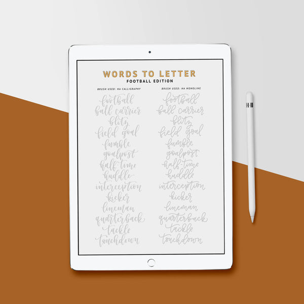 FOOTBALL Lettering Practice Sheets, iPad Lettering, Words to Letter Fall Edition - Hewitt Avenue
