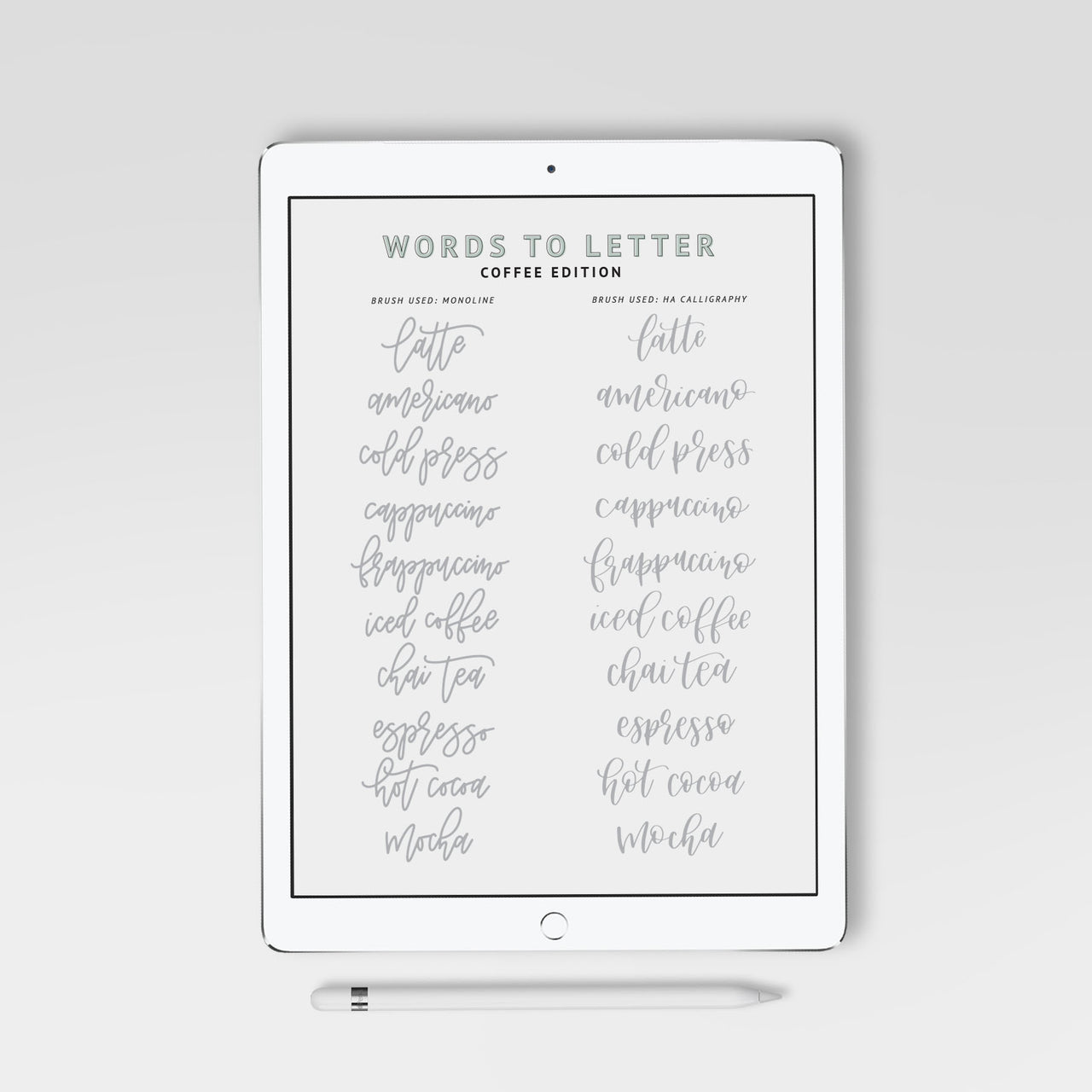 Lettering Practice Sheets, iPad Lettering, Words to Letter Coffee Edition - Hewitt Avenue