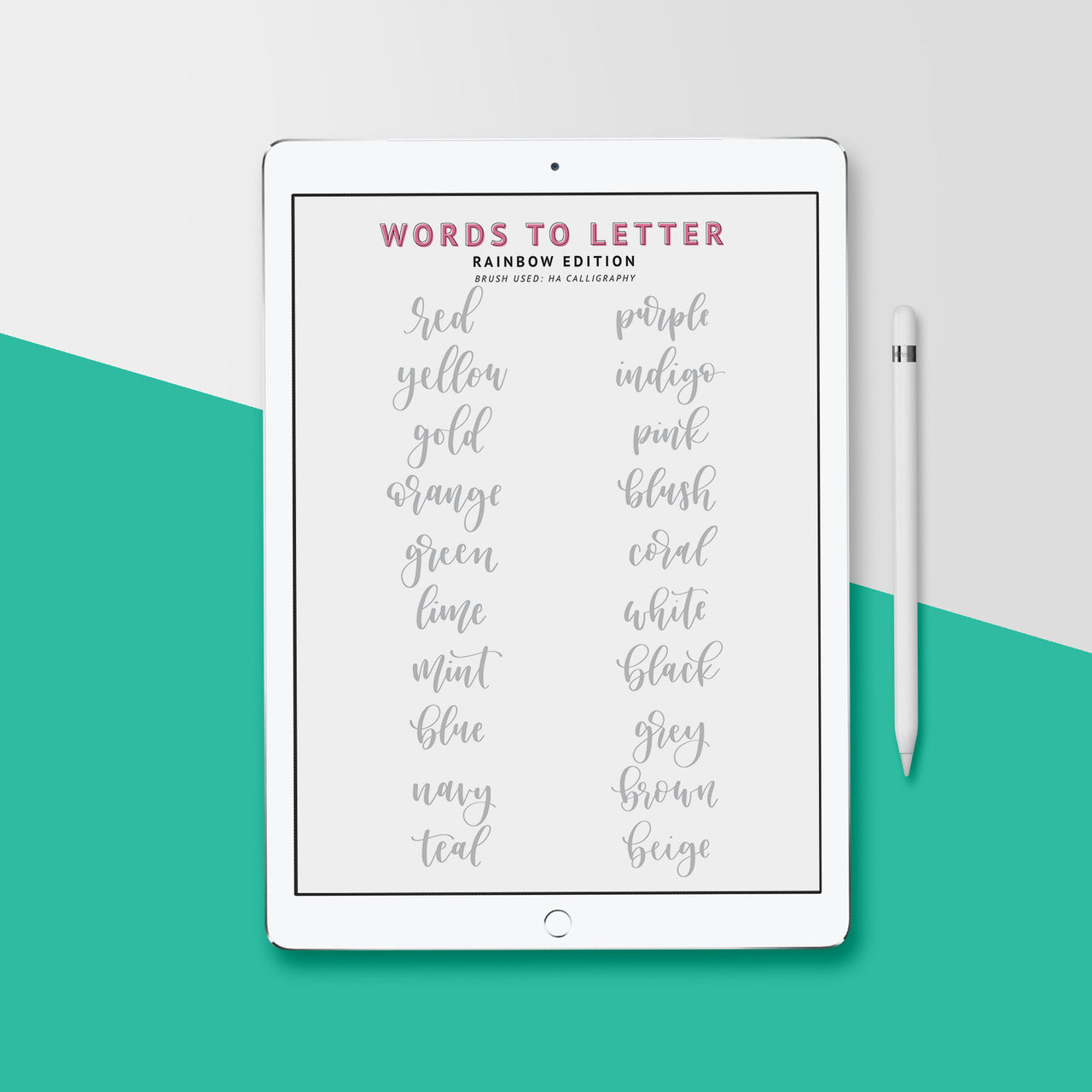 Lettering Practice Sheets, iPad Lettering, Words to Letter Rainbow Edition - Hewitt Avenue