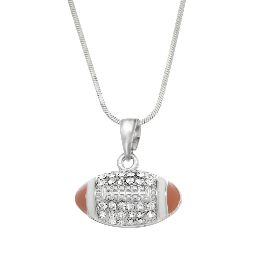 Pave Crystal Football Necklace