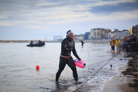Ross Edgley gets out of the sea at Margate - Image courtesy of James Appleton