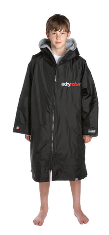 1|S,Kids dryrobe Advance Long Sleeve Large Black Grey Front Boy
