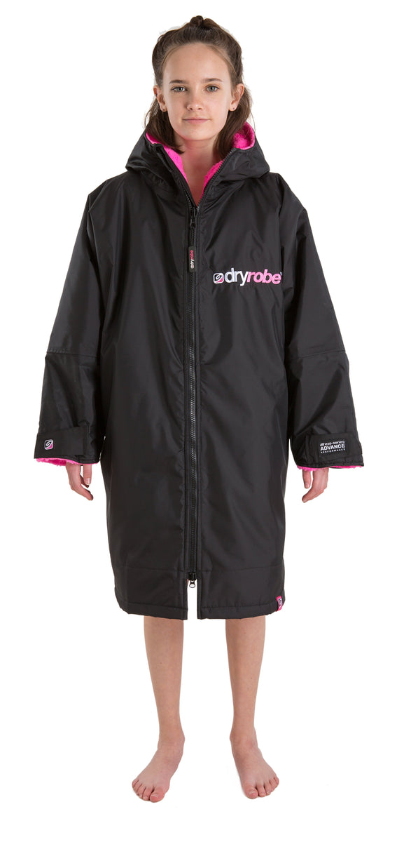 1|S,Kids dryrobe Advance Long Sleeve Black Pink Front