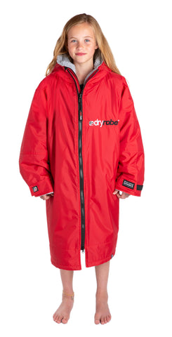 1|S,Kids dryrobe Advance Long Sleeve Red Grey Front