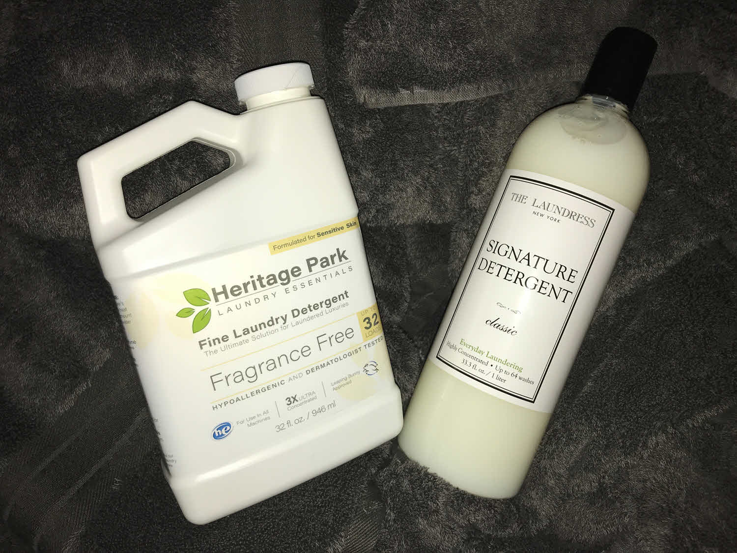 The difference between Heritage Park vs. The Laundress comparing luxury laundry detergent