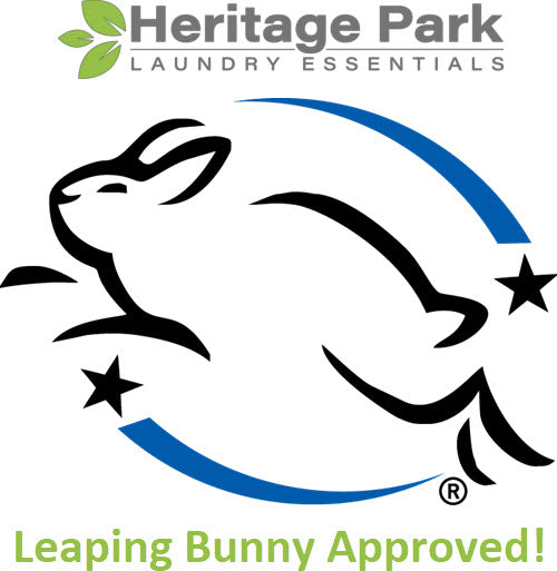 Heritage Park detergent is Leaping Bunny Approved and never tested on animals