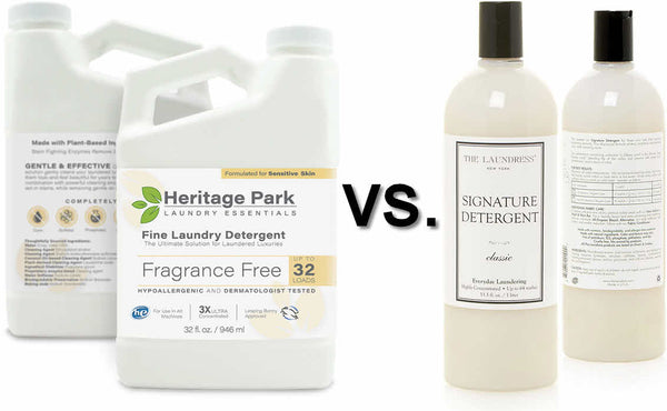 Side-by-side Comparison of Heritage Park All-Purpose Laundry Detergent and The Laundress Signature Detergent