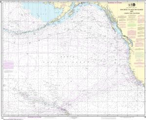 US NOAA Chart 530 North America West Coast San Diego to Aleutian Islands and Hawai' ian Islands