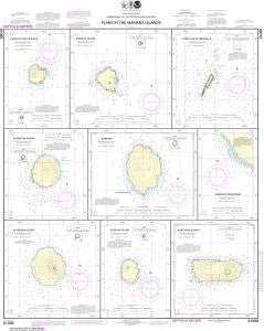 US NOAA Chart 81086 Plans in the Mariana Islands (Metric) Faraloon de Pajaros;Sarigan Island;Farallon de Medinilla;
