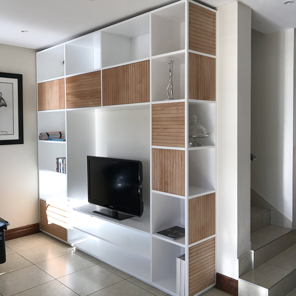 Wall unit with solid beech slats