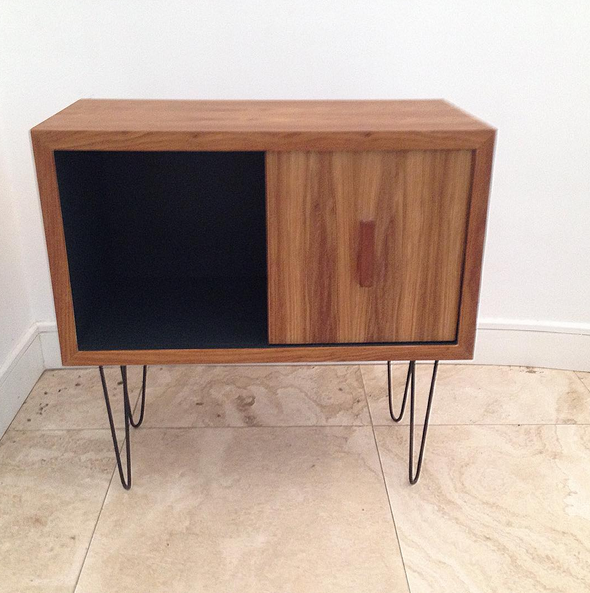 Vinyl cabinet with hairpin legs