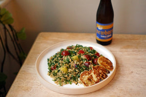 The Beer Lovers Table: Couscous Herb Salad with Marinated Halloumi and Newbarns Table Beer