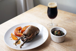 The Beer Lover's Table: Roast Grouse and Potimarron Squash with French Lentils and Ayinger Celebrator
