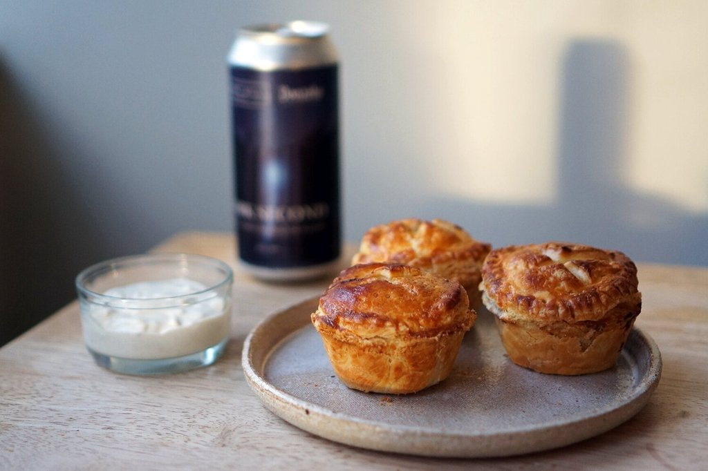 The Beer Lover's Table: New Zealand-Style Buffalo Chicken Pies and Burnt Mill x Donzoko Dark Second Dark Lager