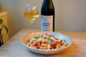 Wine & Food Killers: Fusilli with Slow-Roasted Cherry Tomatoes and Goat Gouda and Arianna Occhipinti SP68 Bianco 2019