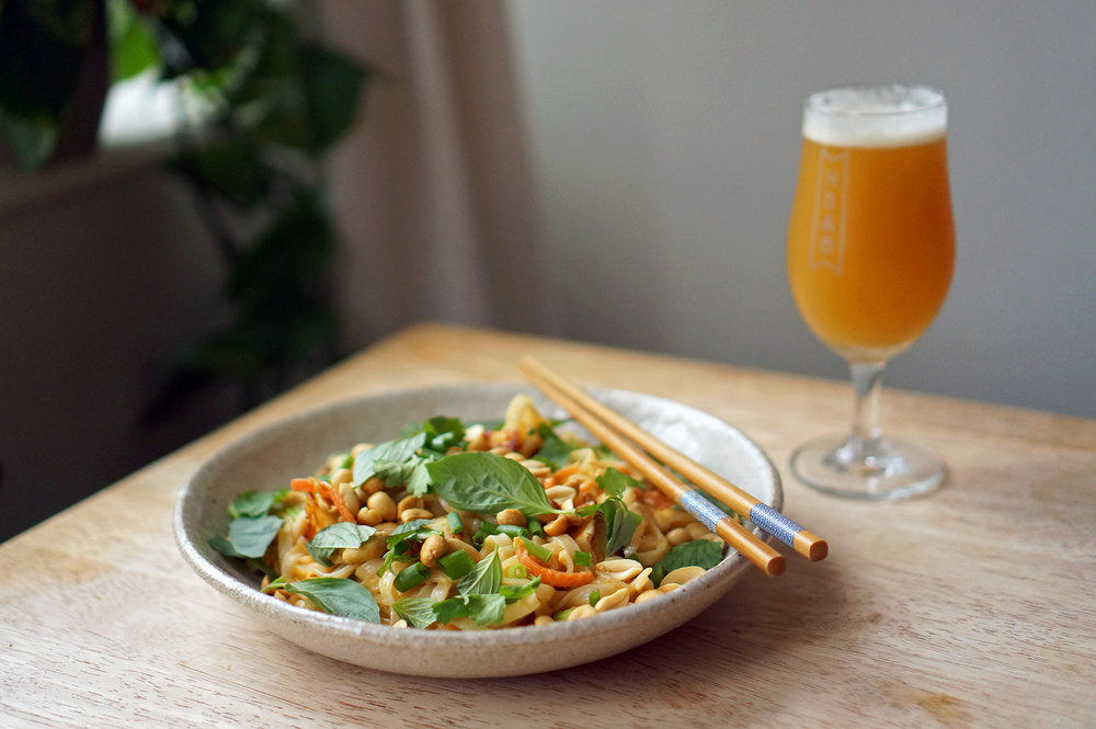 The Beer Lover's Table: Peanut Noodles With Fried Halloumi and Polly's Brew Co Simcoe Mosaic IPA