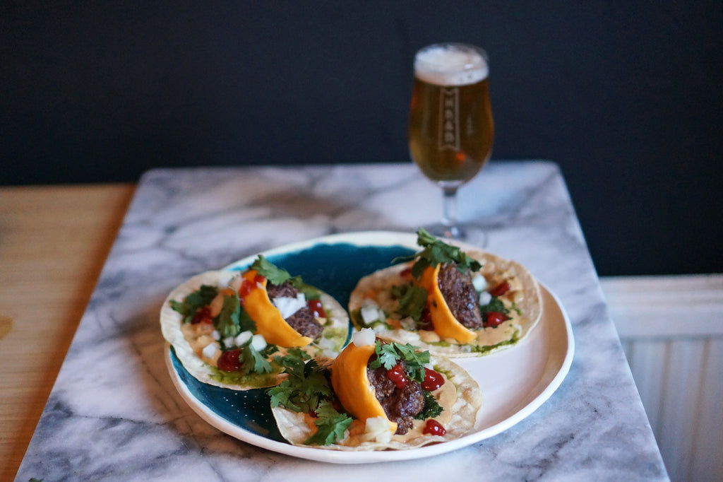 The Beer Lover's Table: Cheeseburger Tacos and Beak Brewery Déšt Pilsner